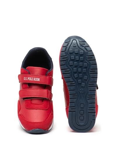 U.S. Polo Assn. Pantofi sport din piele ecologica cu benzi velcro Alone Baieti