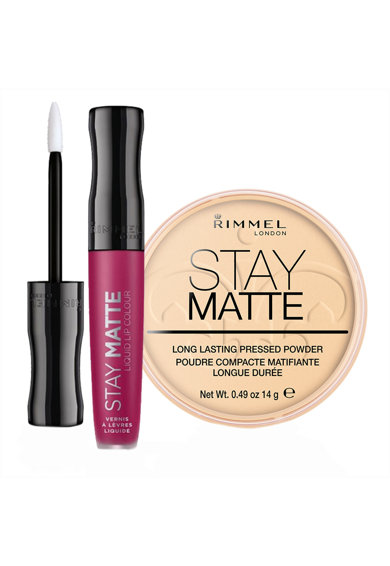 Rimmel Set  London: Pudra compacta Stay Matte 01 Transparent 14 g, Ruj lichid mat Stay Matte 210 Rose & Shine 5.5 ml Femei