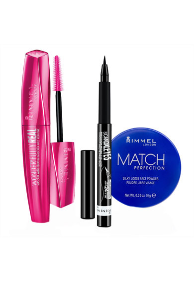 Rimmel Set  London: Mascara Wonder'Fully Real 001 Black 11 ml, Pudra pulbere Match Perfection Translucent 10 g, Creion de ochi Scandaleyes Micro Liner Femei