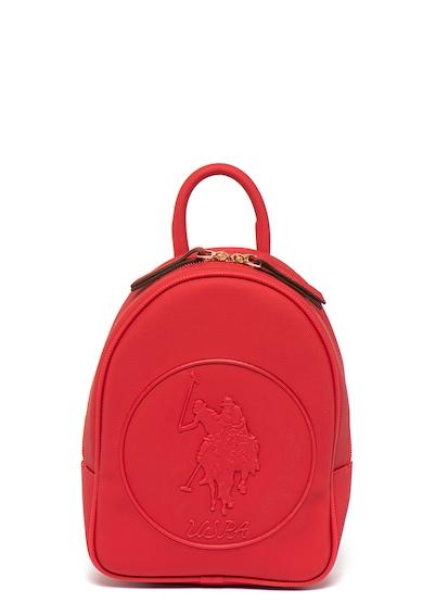 U.S. Polo Assn. Rucsac de piele ecologica, cu logo in relief Femei