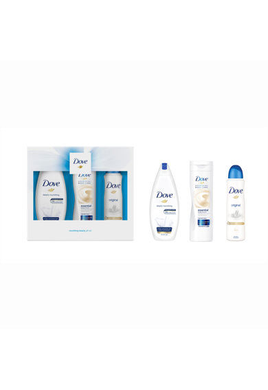 Dove Set Cadou  Original Trio: Deodorant, 150ml + Gel de dus, 250ml + Lotiune de corp, 250ml Femei