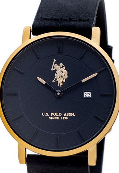 U.S. Polo Assn. Ceas rotund cu o curea din piele Barbati