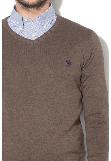 U.S. Polo Assn. Pulover cu decolteu in V si broderie logo Robin Barbati