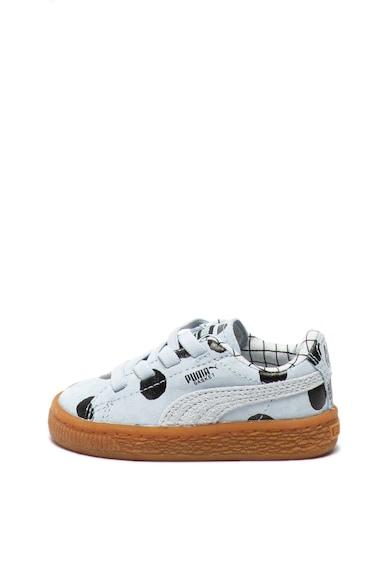 Puma Pantofi sport din piele intoarsa cu imprimeu cu buline Basket Fete