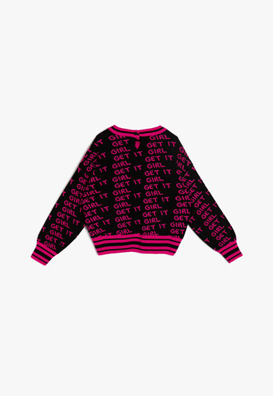 KOTON Pulover tricotat cu imprimeu text Fete