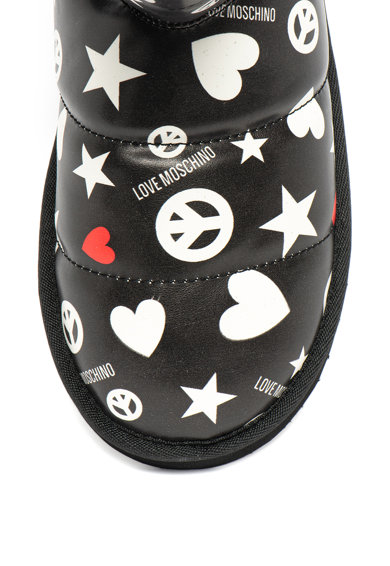 Love Moschino Ghete de iarna, de piele ecologica, cu imprimeu logo si aspect matlasat Femei
