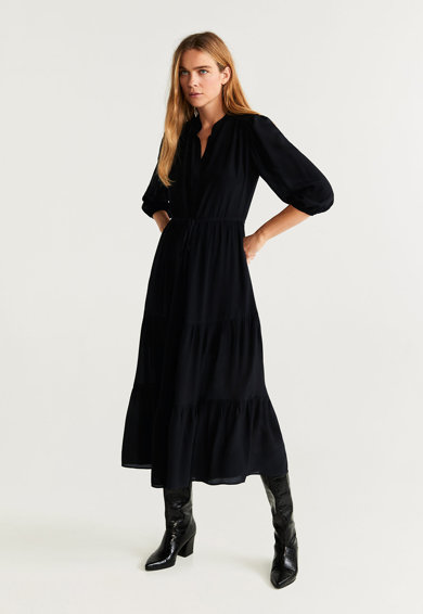 Mango Разкроена среднодълга рокля Ruth 2 Жени