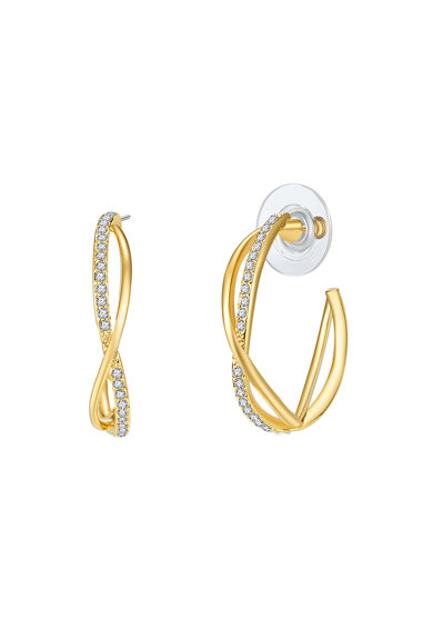 Highstreet Jewels Cercei rotunzi placati cu aur si decorati cu cristale Femei