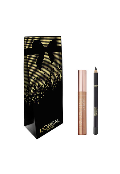 L'Oreal Paris Set : Mascara Paradise Extatic Black 6.4 ml, Creion de ochi Color Riche Le Khol 101 Midnight Black Femei