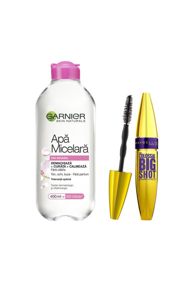 Maybelline NY Pachet promo: Mascara Maybelline New York Volum' Express The Colossal Big Shot Black 9.5 ml, Apa micelara Garnier Skin Naturals pentru ten sensibil, 400 ml Femei