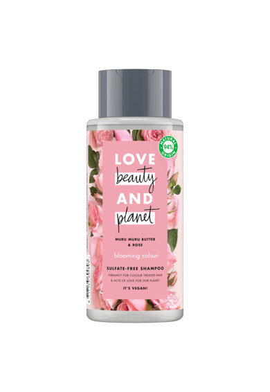 Love Beauty and Planet Set  Muru Muru Butter&Rose: Lotiune de corp Delicious Glow, 400 ml + Gel de dus Bountiful Moisture, 500 ml + Sampon pentru par vopsit Blooming Colour, 400 ml Femei