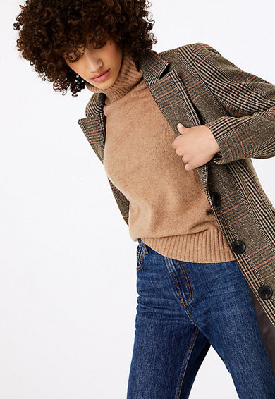 Marks & Spencer Palton din amestec de lana, cu croiala dreapta si carouri Femei