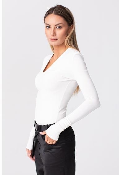 LIN APPAREL Bluza din bumbac cu decolteu in V Femei
