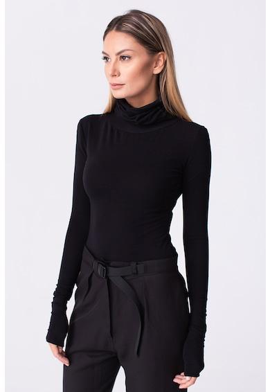 LIN APPAREL Bluza cu guler inalt si aspect striat Femei