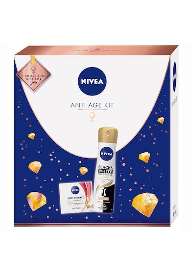 Nivea Set ingrijire corp si fata  Anti-Age: Deodorant spray Black&White Invisible Silky Smooth, 150 ml + Crema de zi antirid si fermitate 45+, 50 ml Femei