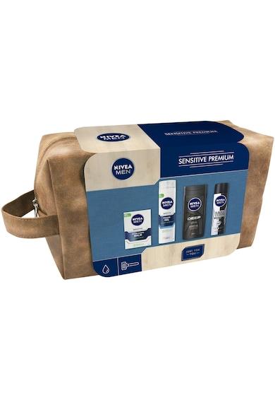 Nivea Men Set cadou  Sensitive Premium: Gel de ras + Balsam dupa ras + Gel de dus + Deodorant Barbati