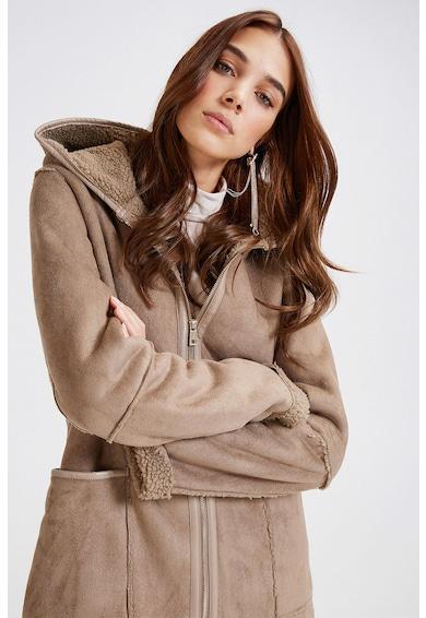 Motivi Palton din piele intoarsa ecologica cu captuseala din blana shearling sintetica Femei