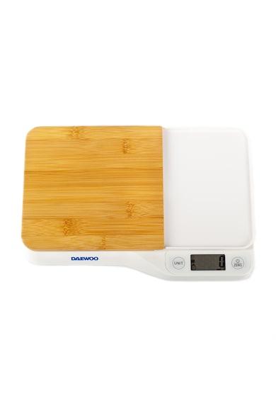 Daewoo Cantar de bucatarie cu tocator  , 5 kg, 1 g, tocator din bambus, LCD, Alb Femei