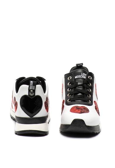 Love Moschino Pantofi sport de piele ecologica, cu paiete Femei