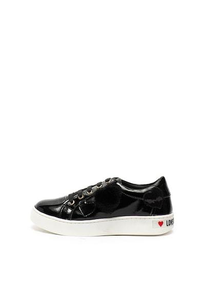 Love Moschino Pantofi sport de piele ecologica, cu aspect lacuit si aplicatii inima Femei