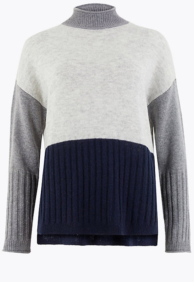 Marks & Spencer Pulover din amestec de lana cu maneci cazute Femei