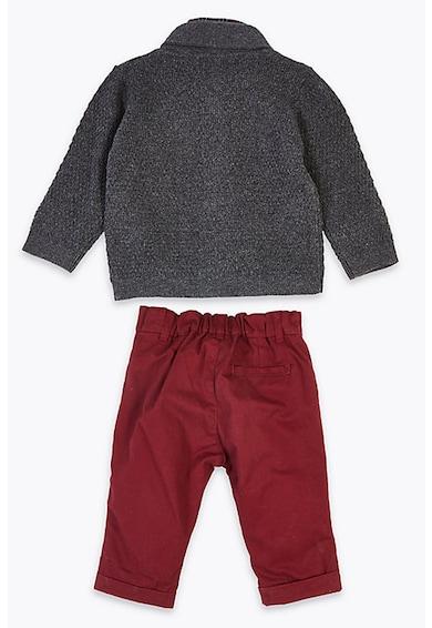 Marks & Spencer Set de pantaloni, camasa cu papion si cardigan cu nasturi - 4 piese Baieti