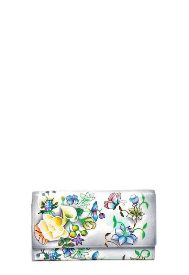 Niarvi Portofel de piele cu imprimeu floral pictat manual Femei