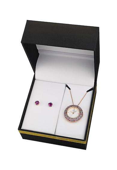 BURGI Set de cercei cu tija si ceas pandantiv decorat cu un diamant Femei