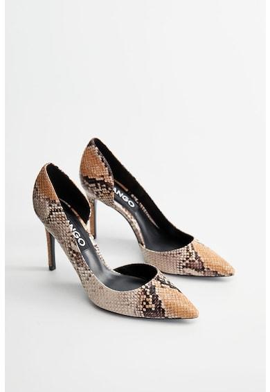 Mango Pantofi d'Orsay cu aspect de piele de sarpe Audrey Side Femei
