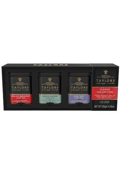 Taylors of Harrogate Set Classic Collection Ceai Negru English Breakfast, Ceai Verde cu Iasomie, Ceai Negru Earl Grey si Infuzor,  Cutii Metalice, Frunze, 130 g Femei
