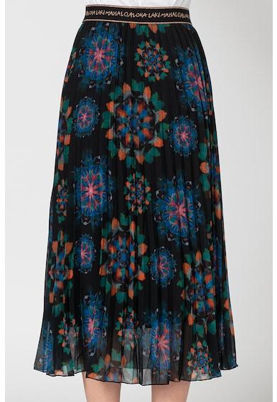 DESIGUAL Fusta maxi plisata, cu model floral Delos Femei