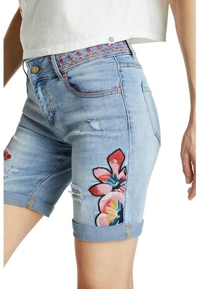 DESIGUAL Pantaloni scurti de denim cu model floral si paiete Femei