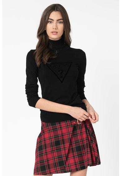 GUESS JEANS Pulover din tricot fin cu logo catifelat Femei