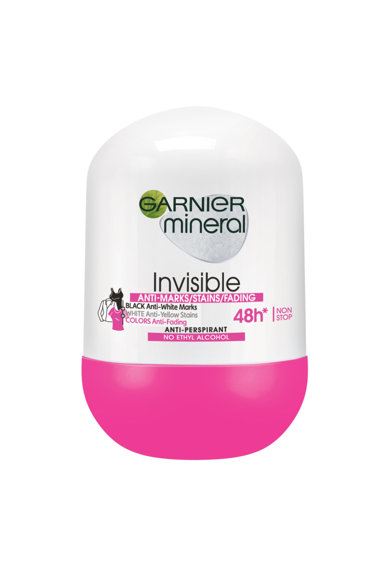Garnier Trusa : Deodorant roll-on Mineral Invisible for Black&White&Colors, 50 ml + Masca servetel Skin Naturals cu musetel, pentru ten sensibil, 32 g + Apa micelara Skin Naturals pentru ten sensibil, 100 ml Femei