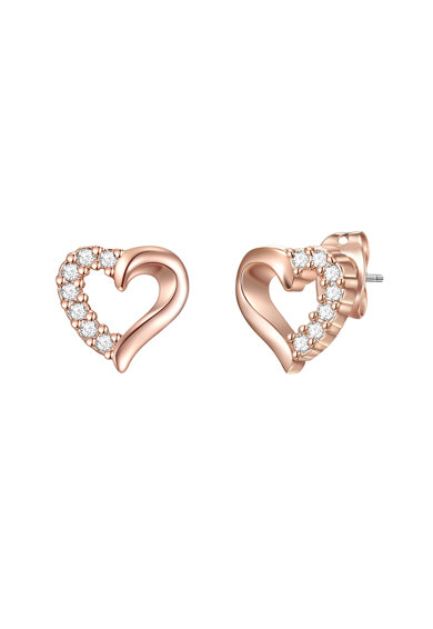 Highstreet Jewels Cercei in forma de inima, placati cu aur rose si rodiu, si decorati cu cristale Swarovski Crystals Femei