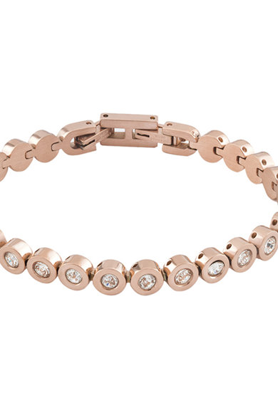 OXETTE Bratara placata cu aur rose 18K si cristale Femei