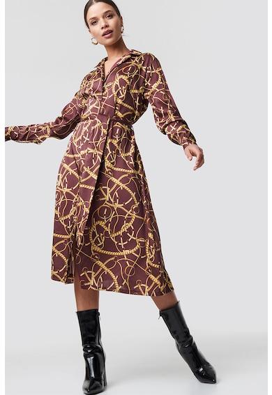 Na-Kd Rochie tip camasa din satin cu cordon in talie Femei