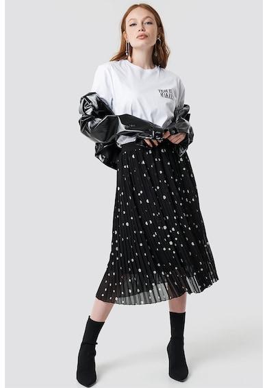 NA-KD Tricou cu decolteu la baza gatului si imprimeu text Femei