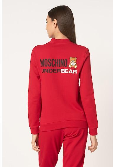 Moschino Bluza sport de casa, cu fermoar si imprimeu logo Femei