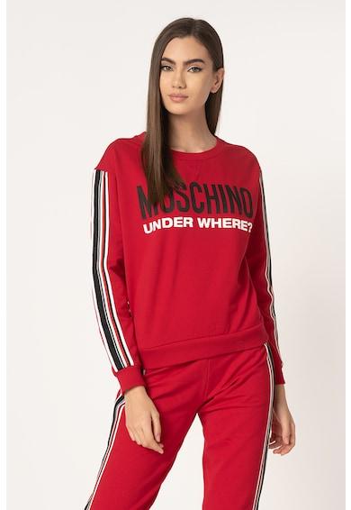 Moschino Bluza sport de casa, cu imprimeu logo si segmente laterale contrastante Femei