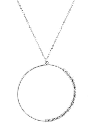 Loisir by Oxette Colier de otel inoxidabil, cu pandativ circular Femei
