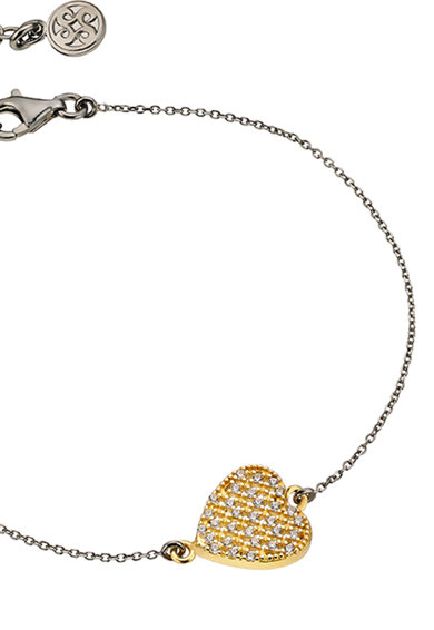 OXETTE Bratara de argint placata cu ruteniu si aur de 18k, cu talisman inima Femei