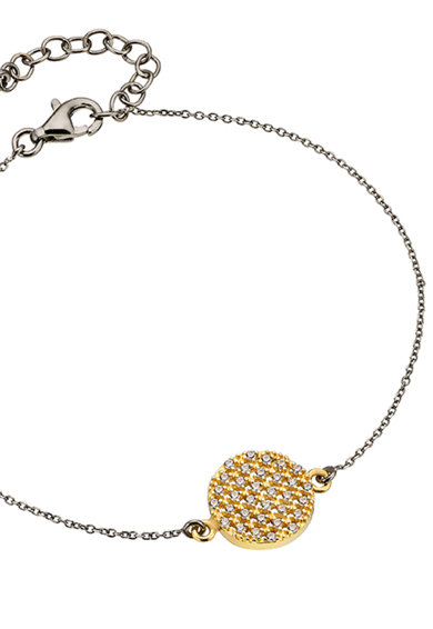 OXETTE Bratara placata cu ruteniu si aur de 18k, cu talisman Femei