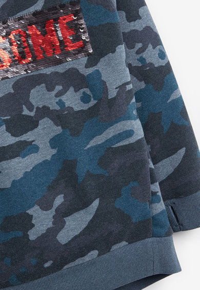 NEXT Hanorac cu imprimeu camuflaj si paiete reversibile Baieti