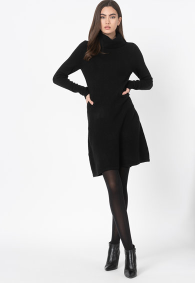 Esprit Rochie cu croiala in A din amestec de lana si guler inalt Femei