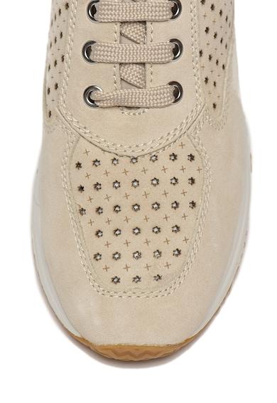 Geox Pantofi sport din piele intoarsa cu perforatii Happy Femei