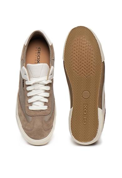 Geox Pantofi sport din piele intoarsa, cu garnituri din plasa Kaven Barbati