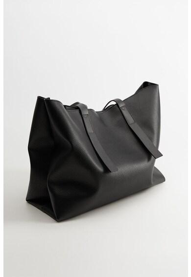 Mango Geanta shopper cu garnituri de piele Roma Femei