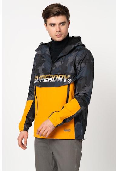 SUPERDRY Jacheta fara inchidere cu imprimeu camuflaj si logo Core Barbati
