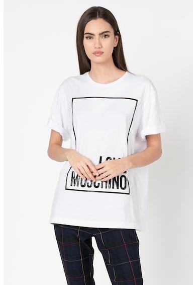 Love Moschino Tricou cu imprimeu logo si decolteu la baza gatului Femei